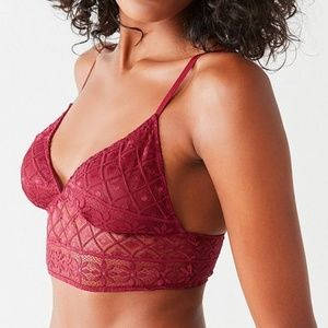 Out From Under Parker Lace Longline Bra Wine